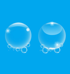 realistic 3d soap bubble with on blue background vector image