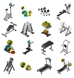 Realistic Fitness Equipment Icons Set vector