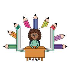 School girl cartoon vector