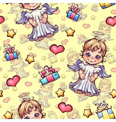 seamless pattern with cartoon angels and vector image