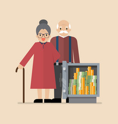senior man and woman with safe full money vector image