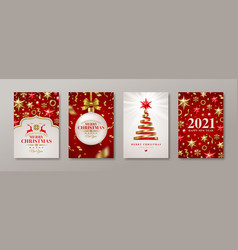 Set christmas and new year greeting card vector