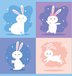 Set cute rabbits icons vector