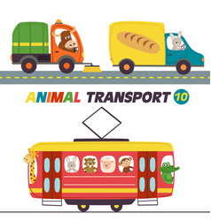 Set isolated transports with animals part 10 vector