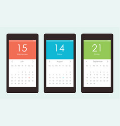 Set of calendar widget ui for mobile app vector