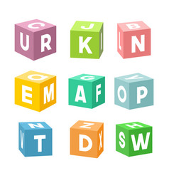 Set of colorful toy bricks with letters vector