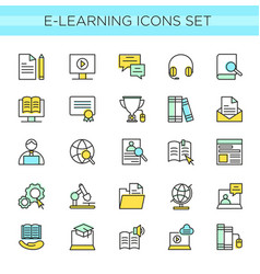 set of e-learning icons online vector image