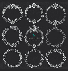 Set of hand drawn floral wreaths with vector