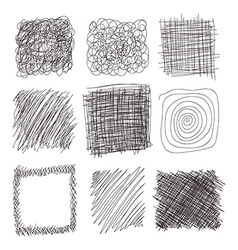 Set of hand drawn lines textures scribbles of pen vector