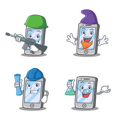 Set of iphone character with elf architect army vector