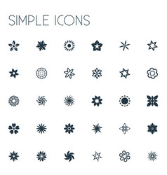 Set of simple icons elements sweet pea marigold vector