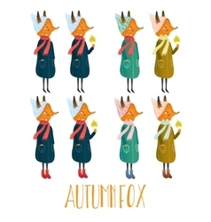 Set of very cute autumn fox cute vector
