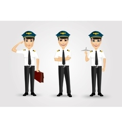 Set of young friendly pilots vector