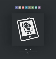 Shopping on tablet icon vector