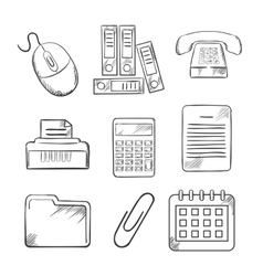 Sketched office and business icons vector