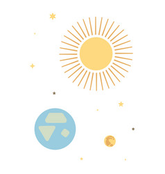 Space poster sun earth moon with stars vector