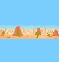 stony sandy desert landscape panorama flat cartoon vector image