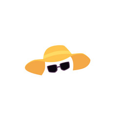 straw hat and sunglasses vacation accessories vector image