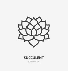 Succulent flat line icon thin sign of vector