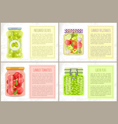 Tomatoes olives peas vegetable conservation set vector