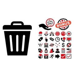 Trash Can Flat Icon with Bonus vector image