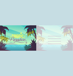 travel postcard card with summer landscape vector image