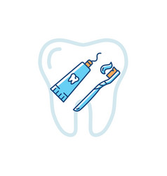 tube toothpaste and toothbrush icons dental vector image