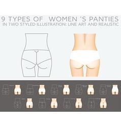 Underwear set 9 types of womens panties in two vector