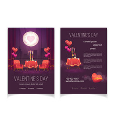 Valentines day flyer for romantic dinner vector