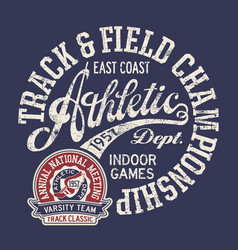 Vintage east coast track and field indoor games vector