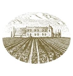 Vintage engraved hand drawn vineyards landscape vector