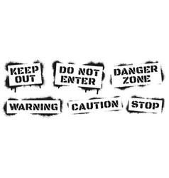 warning sign stencil graffiti black ray paint vector image
