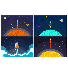 with flying rocket vector image