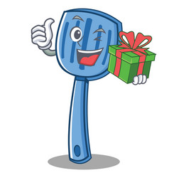 with gift spatula character cartoon style vector image