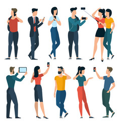 young trendy people with mobile phones vector image