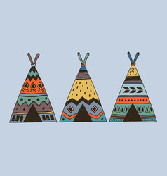 boho collection with 3 wigwam vector image vector image