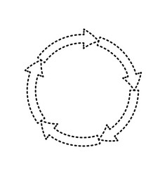 cirkular arrows sign black dashed icon on vector image