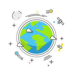 earth lines design earth in space with vector image vector image
