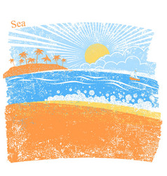 nature sea background with palm island and blue vector image