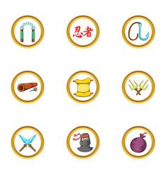 ninja destiny icon set cartoon style vector image