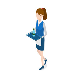 restaurant walking waitress with tray in hands vector image
