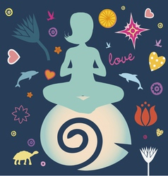 yoga spring elements collection vector image vector image