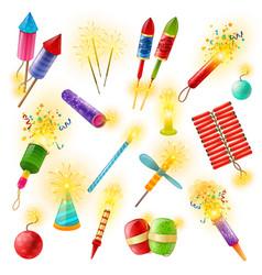 pyrotechnics firework cracker sparkler colorful vector image vector image