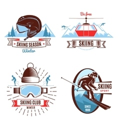 Skiing emblems and design elements vector