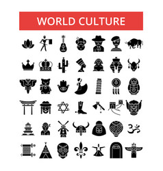 world culture thin line icons vector image vector image