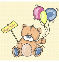 Cute Teddy bear with the colorful balloons vector image vector image