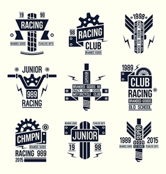 Emblems motorcycle races in retro style vector image vector image
