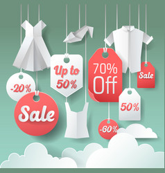paper cut out sale tags discount poster design vector image
