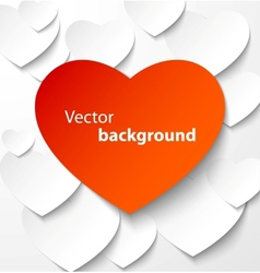 Red paper heart banner with drop shadows vector image vector image