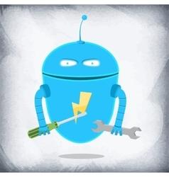 Robot Repairman Cartoon Character vector image